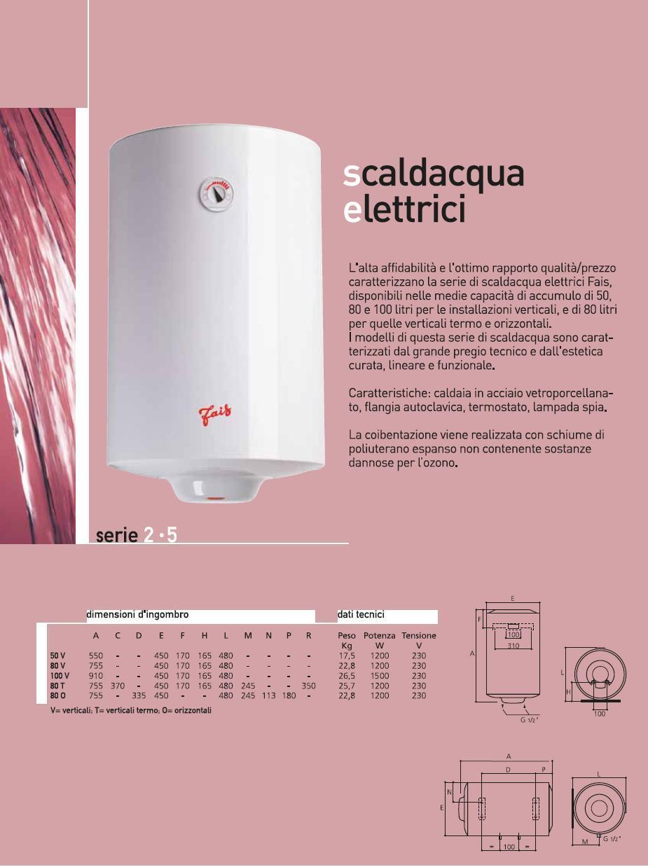 Scaldacqua elettrico fais mts 50 lt 2 anni for Scaldacqua in rame