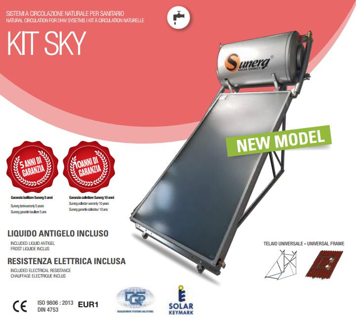 Kit Pannello Solare Circolazione Naturale : Kit solare sunerg circolazione naturale sgr lt
